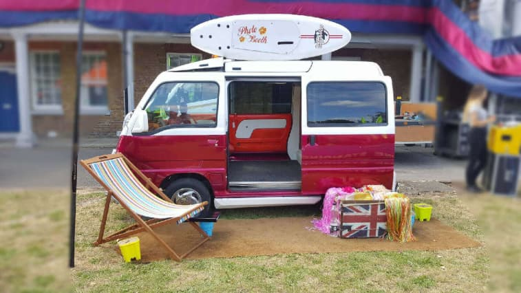 Mini Camper Van photo booth system with beach theme
